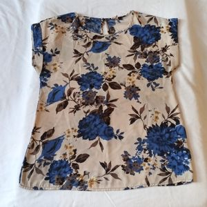Women's My Beloved Light Tan Floral Blouse